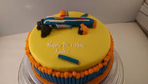 baking for the mini manley nerf gun cake