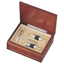 wine set gifts silver wine stoppers set in wood gift box