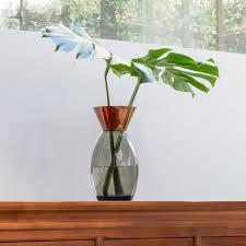 Copper Flower Vase Glass Rose Vase Copper U0026 Smoke Vases And Faux Flowers