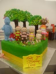 single tier square birthday cake in the night garden characters