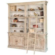 Bookcase Ladder White Washed Library Bookcase With Ladder Shabby Chic
