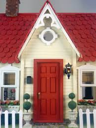 decorations classic red doors with small glass fits the entryway