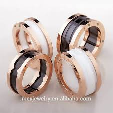 ceramic gold rings images Triple twisted black and white diamond ceramic ring for men women jpg