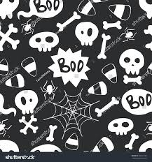 halloween background skulls seamless pattern hand drawn halloween doodles stock vector