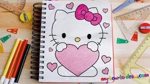 draw kitty love heart ho draw