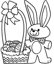 easter bunny and eggs coloring pages for kids childrens free