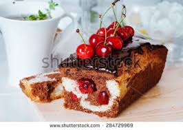 cherry plum cake chocolate cherry closeup stock photo 284729969