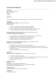Sample Resume For Jobs by Resume Example For A Construction Job Augustais