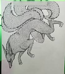 fivetailes fox drawing by primeval wings on deviantart