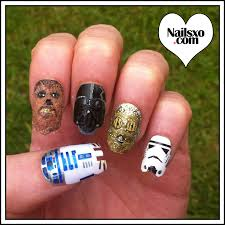 star wars nail art design r2d2 may the 4th be with you chewbacca