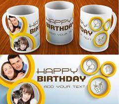 happy birthday design for mug happy birthday mug with classic blue background
