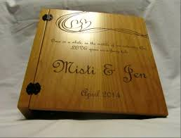 personalized wedding photo album this personalized wooden wedding album features a 3 ring binder