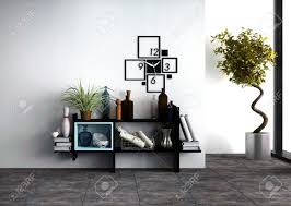 Shelving Furniture Living Room by Wall Mounted Shelves With Personal Effects And A Designer Clock