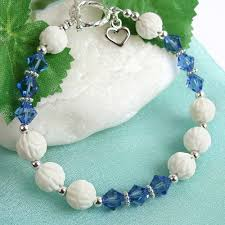 sapphire crystal bracelet images Sapphire crystal bracelet shell beads heart charm sterling jpg