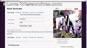 werewolf name generator youtube