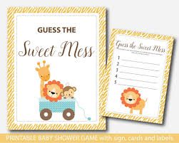 safari guess the sweet mess safari baby shower sweet mess cards