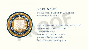 ph d business cards department of history uc berkeley