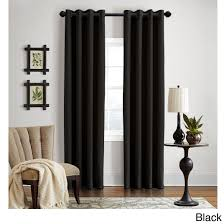 grand luxe 100 percent linen gotham grommet top curtain panel 108 inch black