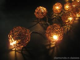String Ball Lights by 20 Natural Brown Wicker Rattan Ball Battery Operated Led String