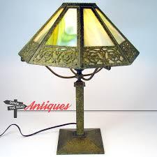 Arts And Crafts Desk Lamp Signed Bradley U0026 Hubbard Arts U0026 Crafts Eight Panel Electric Table