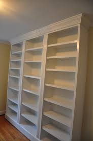 furniture white hardwood built in bookshelves which paired with