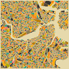 Boston City Map Boston Retro Map Painting Print Products Pinterest Metal