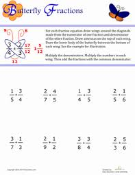 adding fractions answer key butterfly fractions worksheet education