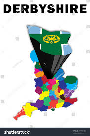Scottish County Flags Outline Map England Derbyshire Raised Highlighted Stock