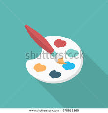 Painting Icon Art Palette Paint Brush Flat Icon Stock Vector 241175470