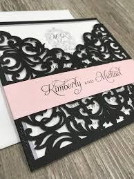 laser cut invitations monogram bellyband laser cut pocket wedding invitation