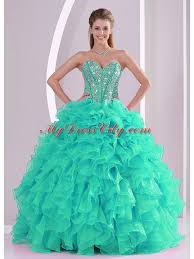 ball gown sweetheart ruffles and beaded decorate turquoise elegant