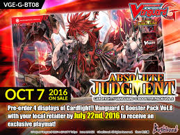 cardfight vanguard cardfight vanguard g booster pack vol 8 absolute judgment