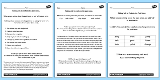 the suffix ed for the past tense lesson teaching pack