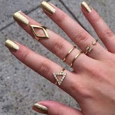 ring set 5pcs women knuckle rings set stacking gold geometry