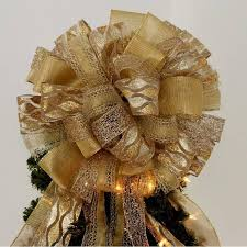 gold sparkle tree topper bow package bows