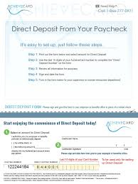 prepaid cards with direct deposit achievecard direct deposit form