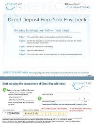 direct deposit card achievecard direct deposit form