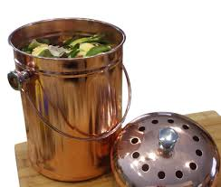 kitchen countertop compost bin crock container decorative copper