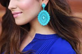 big ear rings shades of blue sazan