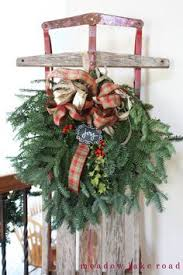 Christmas Decorations Using Live Greenery by 3 Feet High Flexible Flyer Sled With Cranberry Bow Jingle Bells