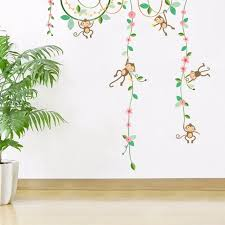 fleurs dans une chambre bande dessinée singe escalade fleurs vignes enfants chambre de