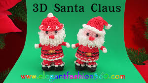 rainbow loom santa claus 3d charm ornament how