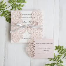 wedding invitations floral blush pink floral laser cut wedding invitations with grey band