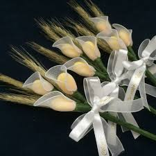 italian communion favors personalized holy communion favor with callas and wheat