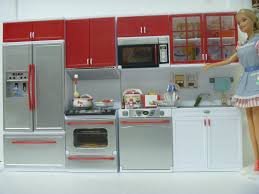 barbie size dollhouse furniture 4 in 1 modern red kitchen cabinet