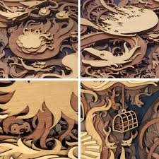 multi layered laser cut wood artworks by martin tomsky colossal