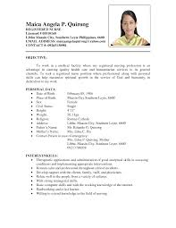 exle of resume for nurses sle resume philippines najmlaemah