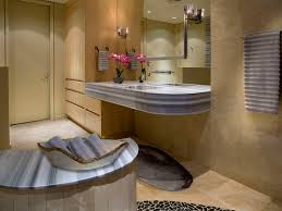 bathroom bath mat light wood cabinets mirror neutral colors tile