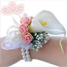 Bracelet Fleur Mariage Aliexpress Com Acheter Mariage Ou Un Bal Avec Corsage Poignet