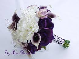 picasso calla silk wedding bouquet real touch purple picasso calla lilies real